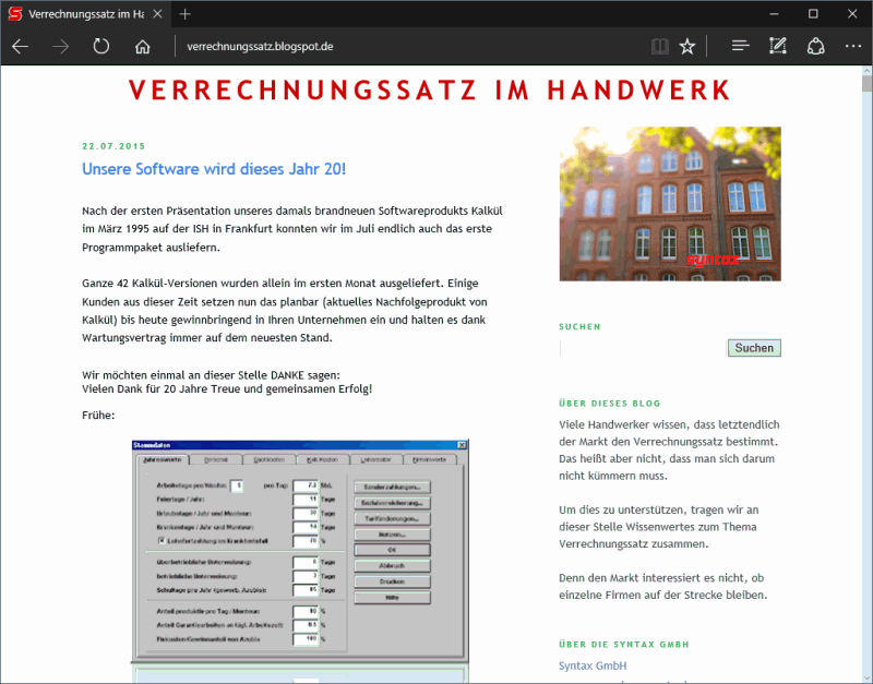 Screenshot VSatz Blog